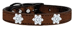 Snowflake Widget Genuine Metallic Leather Dog Collar Bronze 18